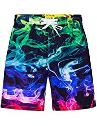 Teen Boys UPF 50+ Swim Trunks Quick Dry Swimwear Bathing Suit with Mesh Lining 7-14 Years