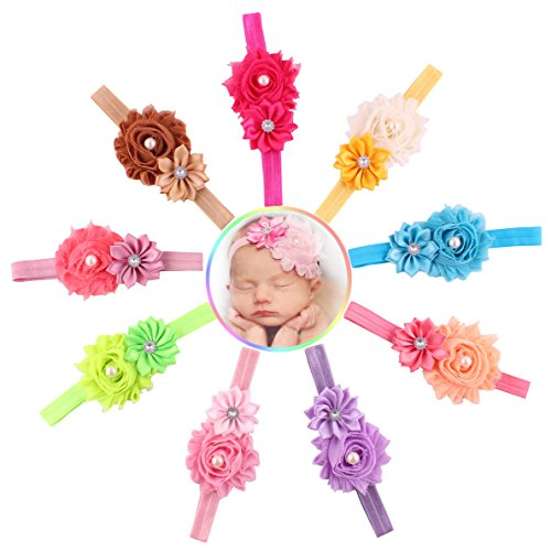 Kfnire 10pcs Baby Girls Hair Hairband Pearl Crystal Rhinestone Flower Bow Lace Band Elastic