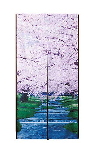토타스 롱 포렴 물가의 벚꽃 일본풍 < 포렴 / 눈 가림 > 차광 간막이 약폭85×장175cm