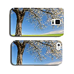 Blooming cherry tree on meadow. Spring landscape. cell phone cover case Samsung S5