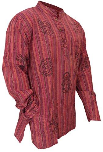 - SHOPOHOLIC FASHION Mens Stonewashed Striped Grandad Shirt (2XL,Light Purple)