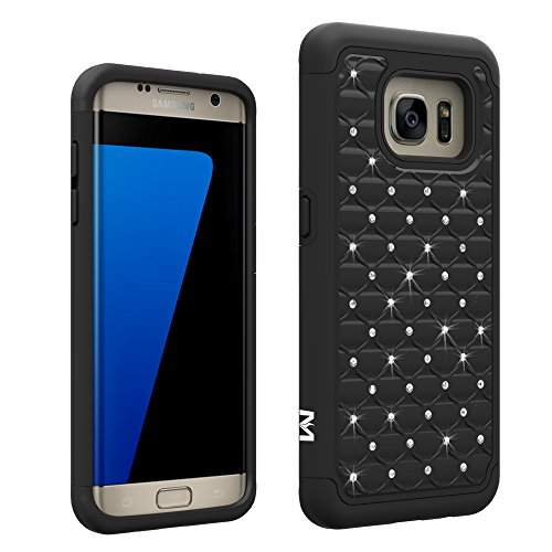 S7 Edge Case, MagicSky [Shock Absorption] Studded Rhinestone Bling Hybrid Dual Layer Armor Defender Protective Case Cover for Samsung Galaxy S7 Edge