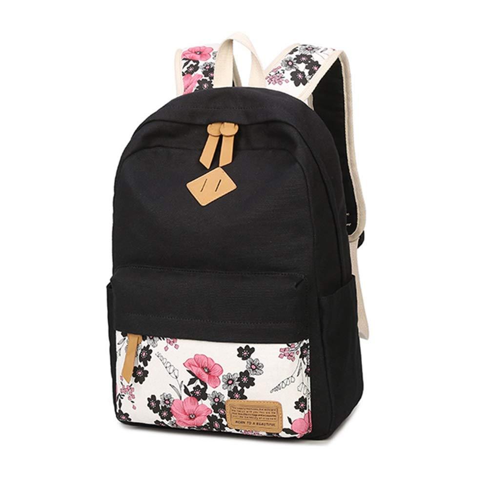 EGQLQ Kids School Backpack Women Girls Backpack Canvas Bookbags Printed School Bag Tens Junior High School Waterproof Casual Travel Daypack Three-Piece Set Black Adjustable Padded Shoulder Straps