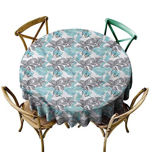 (Luunins White Round Tablecloth Floral,Nostalgic Petal Motifs D54,for Accent Table )