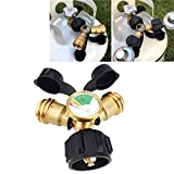 Camping & Hiking,Dartphew 1Pcs Propane Tank Gauge Y-Splitter Safety Brass Adapter,for Gas Grill BBQ RV Pressure Meter,Compatible with propane tanks up to 40-pound(Size: about 995cm)