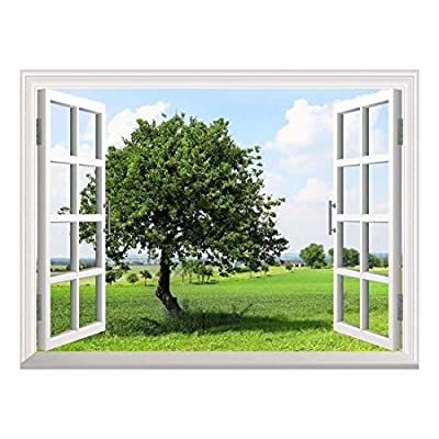 Removable Wall Sticker/Wall Mural - Spring on The Plains | Creative Window View Wall Decor - 36
