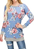 levaca Womens Round Neck Long Sleeve Loose Casual Pullover Tunic Tops Blue XL