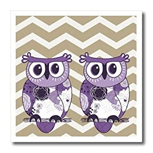 ht_162266_2 PS Animals - Two Purple Owls with beige and white chevron - Iron on Heat Transfers - 6x6 Iron on Heat Transfer for White Material