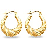 Shrimp Hoop Earrings Solid 14k Yellow Gold Hollow Matte Satin Finish Polished Style Fancy 25 x 25 mm