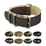 INFANTRY 20mm 5 Silver Rings Genuine Leather Watch Strap Band Stainless Steel Buckle - Dark Brown