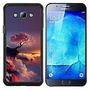 Púrpura Árbol japonés- Metal de aluminio y de plástico duro Caja del teléfono - Negro - Samsung Galaxy A8 / SM-A800