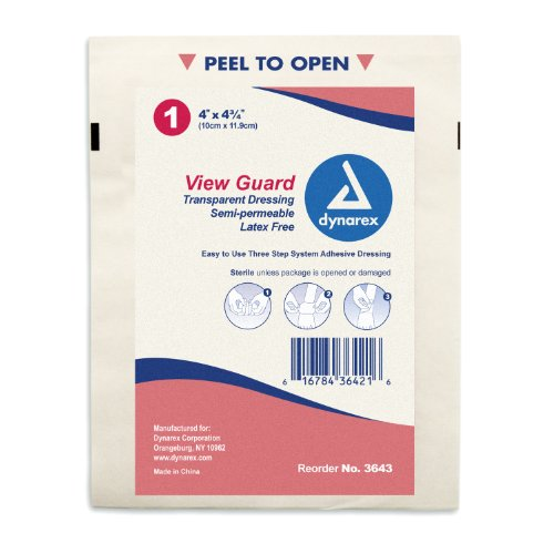 "Dynarex View Guard Transparent - Semi-Permeable Clear Wound Dressings - Sterile - Medium 4""x4 3/4"" - 50 Count"