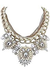 Eyourlife Christmas Hot Multi-Layers Flower Pendant Statement Chunk Collar Necklace Wedding Party (Beige+White)