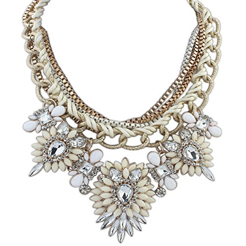 Eyourlife Christmas Hot Multi-Layers Flower Pendant Statement Chunk Collar Necklace (Beige+White) ()