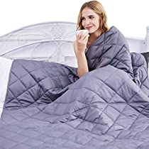 "Weighted Blanket for Adults Kids - 2019 Upgraded Patented HugBeads | 100% Cotton | 15lbs | 48""x72""