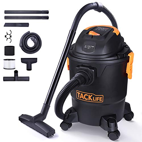 TACKLIFE Wet Dry Vacuum, 5 Gallon 5.5 Peak Hp Shop Vac with Couch Suction, Crevice Tool, Floor Brush for Houses, Garages and Cars
