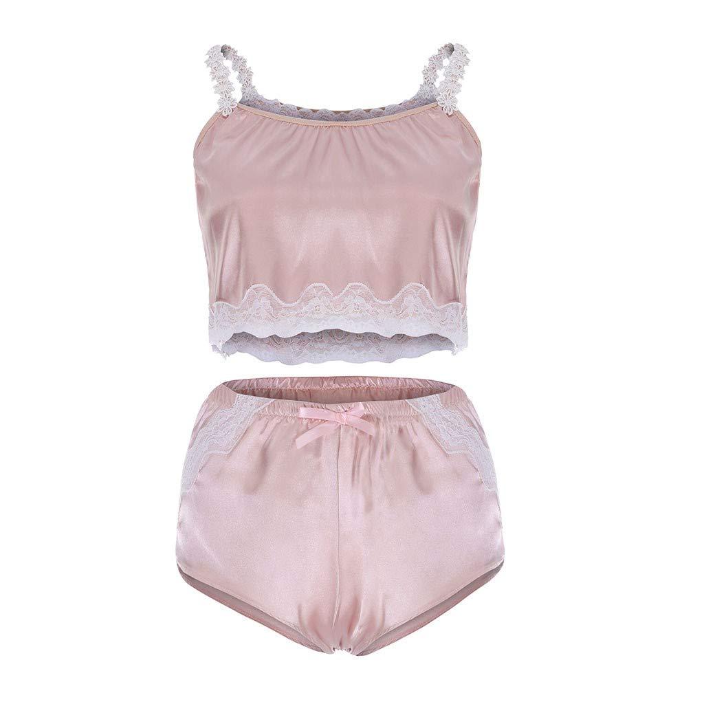 2019 Fashion Sexy Women Eyelash Harness Lace Garter V-Neck Lingerie Set Underwear Bowknot Babydoll (Pink, 3XL)