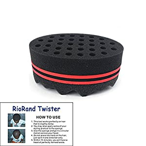 RioRand Hair Styling Two-in-One Magic Barber Sponge Twist Hair Brush for Afros Coils Dreadlocks, 0.3 Ounce