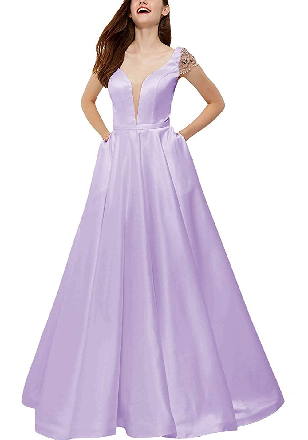 purplec V Neck Beaded Prom Gown Long Satin Backless Aline Formal Evening Dress with Pockets