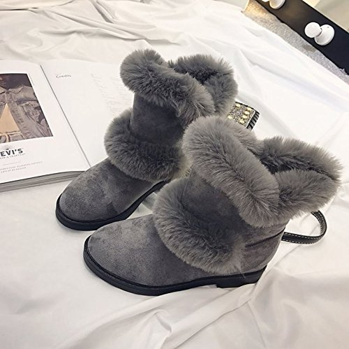 Snow for Women's Boots Casual Toe Round Heel Winter Black Cashmere Grey Boots Boots Calf HSXZ Shoes Mid Low Gray ZHZNVX qZwXnRpp
