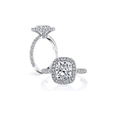 52ef8d22ef4887 Erllo 925 Sterling Silver Women Wedding Ring 3 Carat 9x9mm Cushion Cut  Cubic Zirconia Simulated Diamond