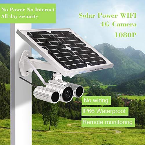 Festnight Wanscam 1080P Solar Power IP Camera 4G Wireless WiFi IP Camera IR-Cut Night Vision Waterproof Outdoor Solar & Battery Power 3G GSM CCTV Camera Video Surveillance Onvif IP Cameras with SIM C