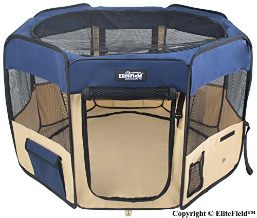 "EliteField 2-Door Soft Pet Playpen, Exercise Pen, Multiple Sizes and Colors Available for Dogs, Cats and Other Pets (48"" x 48"" x 32""H, Navy Blue+Beige)"