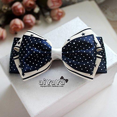 usongs Custom love Yaya original handmade bow hairpin top folder printing wave point girl headdress issuing Navy anchor