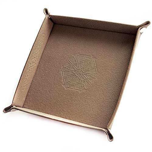 Wiz Dice Collapsible Bicast Leather & Felt Folding Dice Holder Rolling Tray with Snaps for DnD, Tabletop Games, & Storage