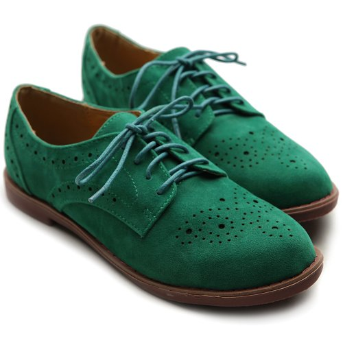 Ollio Women's Lace Up Wing Tip Casual Shoe Dress Low Heel Multi Colored Oxford