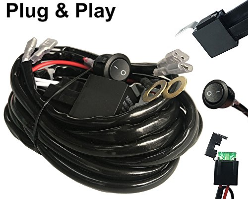 AutoSonic LED Wiring Harness 2 Lead Heavy Duty for LED Light Bar Work Light, 12V 40A Relay, Fuse and On-off switch button included, Life Time Warranty