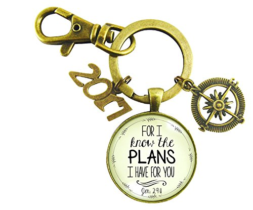 2017 Graduation Keychain For I Know the Plans I Have For You Christian Bronze Compass (Recent Costume Ideas)