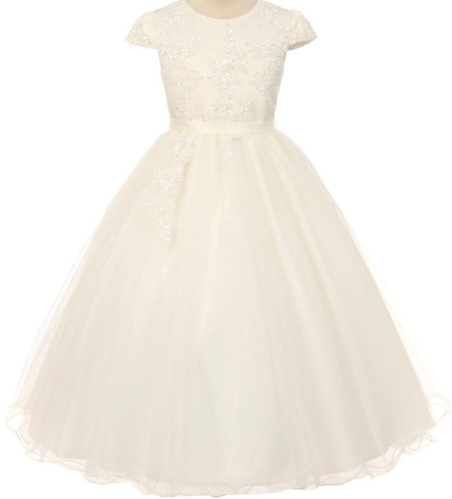 Big Girls' Cap Sleeve Pearl Sequin Communion Flowers Girls Dresses Ivory 14