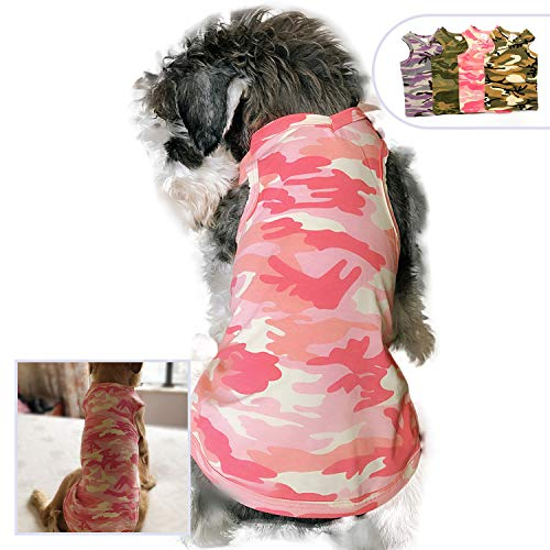Pink Army Costume (Lovelonglong Pet Apparel Dog Clothes Camouflage T-Shirts Dog Tanks Top Vest for Small Middle Large Size Dogs 100% Cotton Pink Green Purple Dog Costumes Camouflage Clothing (M,)