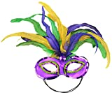 Mask It 48038 Mardi Gras Satin and Feather Half Mask, Mardi Gras