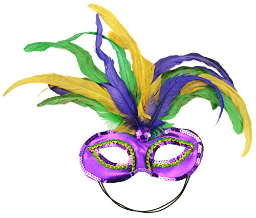 Mask It 48038 Mardi Gras Satin and Feather Half Mask, Mardi (Feather Half Masks)