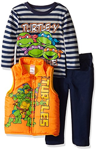 Nickelodeon Little Boys' Toddler Teenage Mutant Ninja Turtle 3 Piece Vest Set with Camo Pants and T-Shirt, Orange, (Tmnt Outfit)