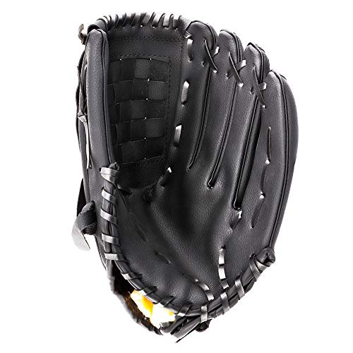 Portzon Baseball Gloves, Baseball Mitts Pitcher, Left Hand Baseball Leather, Outdoor Sports Softball Gloves Man Woman Training Practice Equipment,Unisex 12.5 Inch Suit for Beginner Black
