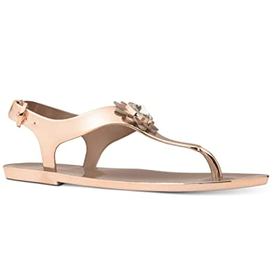 1cc7f29f40b6 Michael Michael Kors Miley Jelly Flat Sandals (6) Rose Gold