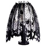 Kasla Halloween Black Desk Lamp Shades Translucent Lace Bats and Spiders,Spooky Spiderweb Window Curtains Door Panel Wall Decor for Festival Party Decorations Supplies Accessories