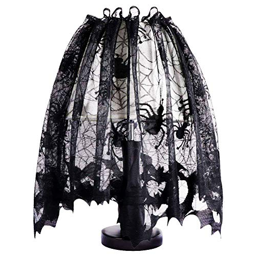 Kasla Halloween Black Desk Lamp Shades Translucent Lace Bats and Spiders,Spooky Spiderweb Window Curtains Door Panel Wall Decor for Festival Party Decorations Supplies Accessories]()
