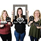 Big Dot of Happiness Bride Tribe - Bridal Shower or Bachelorette Party Selfie Photo Booth Picture Frame & Props - Printed on Sturdy Material