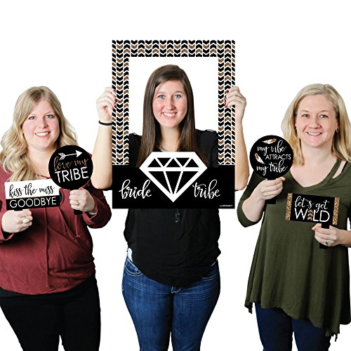 Big Dot of Happiness Bride Tribe - Bridal Shower or Bachelorette Party Selfie Photo Booth Picture Frame & Props - Printed on Sturdy ()