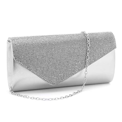 Womens Rhinestone Clutch Purse Evening Bags Wedding Party Cocktail Handbag.(Silver)