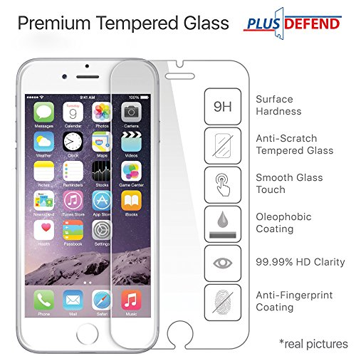 Gorilla Glass Protect iPhone 6 Plus / 6s Plus Ultra-Clear HD Tempered Glass Protector with Premium Anti-Shatter and Oleophobic Treatment from Plus Defend