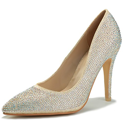 Alexis Leroy Women's Round Toe Glitter Slip on Wedding Pumps Gold 39 M EU / 8-8.5 B(M) US
