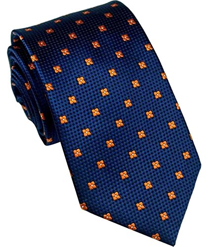 Allbebe Men's Classic Foral Dot Blue Red Jacquard Woven Silk Tie Necktie (One Size, blue_flower dot)