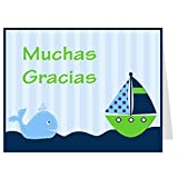 Thank guests for attending your boy baby shower with this fun and classic blue striped nautical themed thank you card featuring a green sailboat and happy whale. Agradezca a los huéspedes por asistir a su fiesta de bienvenida al bebé del much...