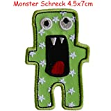 2 iron on patches Horror Monster 4.5x7 and Fairy Katie 7x - embroidered fabric appliques set by TrickyBoo Design Zurich