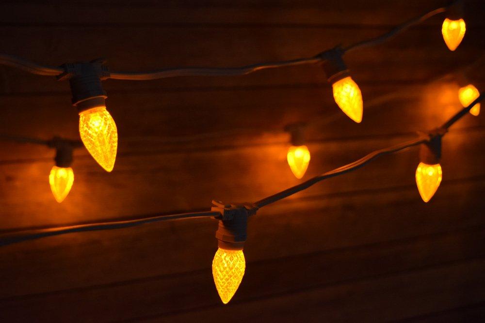 Fantado 50 Socket Outdoor Commercial Light Set, E12 Yellow LED Bulbs, 54 FT White Cord, Weatherproof by PaperLanternStore